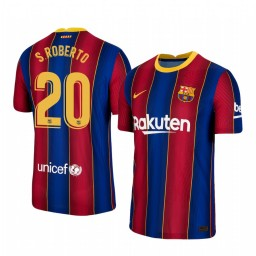 Youth 2020/21 Barcelona #20 S.Roberto Blue Red Replica Home Jersey