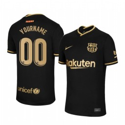 Custom Youth 2020/21 Barcelona Black Authentic Away Jersey