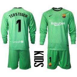 YOUTH 2020-21 Barcelona Goalkeeper #1 TER STEGEN Green Long-Sleeved Shirt (With Shorts)