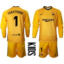 YOUTH 2020-21 Barcelona Goalkeeper #1 TER STEGEN Yellow Long-Sleeved Shirt (With Shorts)