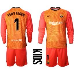 YOUTH 2020-21 Barcelona Goalkeeper #1 TER STEGEN Orange Long-Sleeved Shirt (With Shorts)