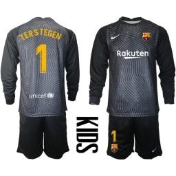 YOUTH 2020-21 Barcelona Goalkeeper #1 TER STEGEN Black Long-Sleeved Shirt (With Shorts)