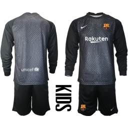 YOUTH 2020-21 Barcelona Goalkeeper Black Long-Sleeved Shirt (With Shorts)