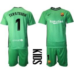 YOUTH 2020-21 Barcelona Goalkeeper #1 TER STEGEN Green Jersey (With Shorts)