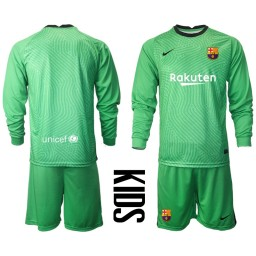 YOUTH 2020-21 Barcelona Goalkeeper Green Long-Sleeved Shirt (With Shorts)