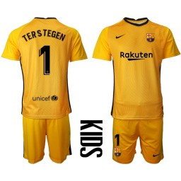 YOUTH 2020-21 Barcelona Goalkeeper #1 TER STEGEN Yellow Jersey (With Shorts)
