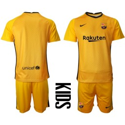 YOUTH 2020-21 Barcelona Goalkeeper Yellow Jersey (With Shorts)