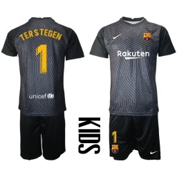 YOUTH 2020-21 Barcelona Goalkeeper #1 TER STEGEN Black Jersey (With Shorts)