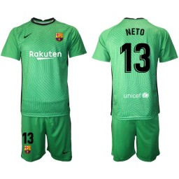 2020-21 Barcelona Goalkeeper #13 NETO Green Jersey (With Shorts)
