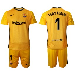 2020-21 Barcelona Goalkeeper #1 TER STEGEN Yellow Jersey (With Shorts)