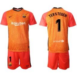 2020-21 Barcelona Goalkeeper #1 TER STEGEN Orange Jersey (With Shorts)