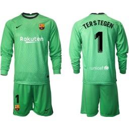 2020-21 Barcelona Goalkeeper #1 TER STEGEN Green Long-Sleeved Shirt (With Shorts)