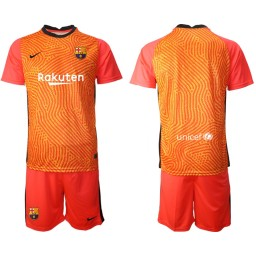 2020-21 Barcelona Goalkeeper Orange Jersey (With Shorts)