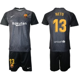 2020-21 Barcelona Goalkeeper #13 NETO Black Jersey (With Shorts)