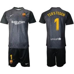 2020-21 Barcelona Goalkeeper #1 TER STEGEN Black Jersey (With Shorts)