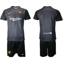 2020-21 Barcelona Goalkeeper Black Jersey (With Shorts)