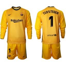 2020-21 Barcelona Goalkeeper #1 TER STEGEN Yellow Long-Sleeved Shirt (With Shorts)