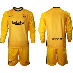 2020-21 Barcelona Goalkeeper Yellow Long-Sleeved Shirt (With Shorts)