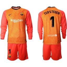 2020-21 Barcelona Goalkeeper #1 TER STEGEN Orange Long-Sleeved Shirt (With Shorts)