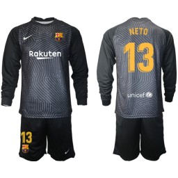2020-21 Barcelona Goalkeeper #13 NETO Black Long-Sleeved Shirt (With Shorts)