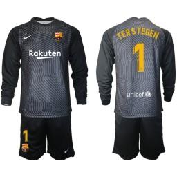 2020-21 Barcelona Goalkeeper #1 TER STEGEN Black Long-Sleeved Shirt (With Shorts)