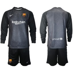 2020-21 Barcelona Goalkeeper Black Long-Sleeved Shirt (With Shorts)